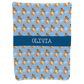 Girls Lacrosse Baby Blanket - Lax Fox Pattern