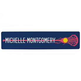 "Girls Lacrosse Aluminum Room Sign - Stick With Your Name  (4""x18"")"