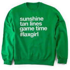 Girls Lacrosse Crew Neck Sweatshirt - Sunshine Tan Lines Game Time