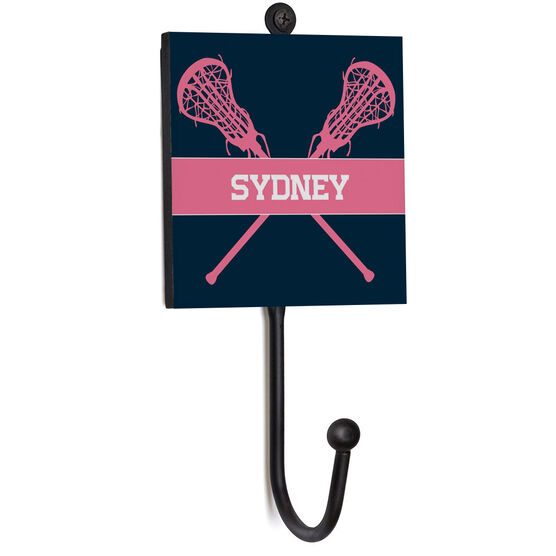 Girls Lacrosse Medal Hook - Lacrosse Crossed Sticks With Name