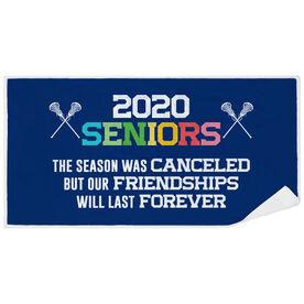 Girls Lacrosse Premium Beach Towel - 2020 Season Was Canceled But Friendships Last Forever