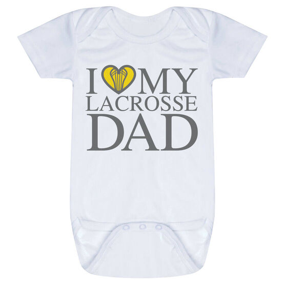 Girls Lacrosse Baby One-Piece - I Love My Lacrosse Dad