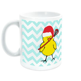 Girls Lacrosse Coffee Mug Lacrosse Chick with Santa Hat