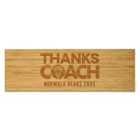 "Girls Lacrosse 12.5"" X 4"" Engraved Bamboo Removable Wall Tile - Thanks Coach"
