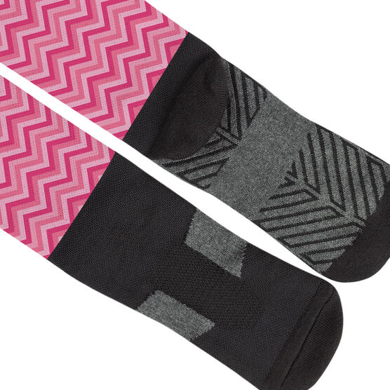 Girls Lacrosse Printed Knee-High Socks - Chevron Crossed Sticks