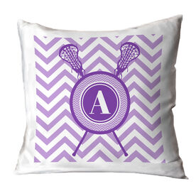 Girls Lacrosse Throw Pillow Single Letter Monogram with Crossed Sticks and Chevron