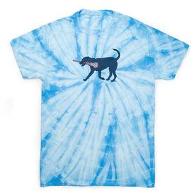 Girls Lacrosse Short Sleeve T-Shirt - LuLa The LAX Dog (Blue) Tie Dye