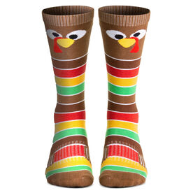 Woven Knee-High Socks - Goofy Turkey With Stripes