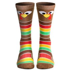 Woven Knee-High Socks - Goofy Turkey With Stripes