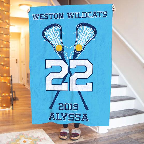 Girls Lacrosse Premium Blanket - Personalized Team with Crossed Sticks