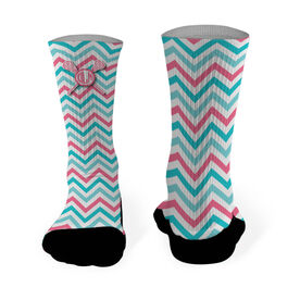 Girls Lacrosse Printed Mid Calf Socks Personalized Monogram with Crossed Sticks and Chevron Pattern