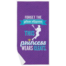 Girls Lacrosse Premium Beach Towel - This Princess Wears Cleats