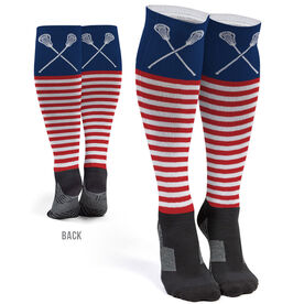 Girls Lacrosse Printed Knee-High Socks - Patriotic Stripes