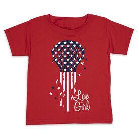 Girls Lacrosse Toddler Short Sleeve Tee - Patriotic Lax Girl
