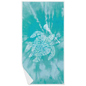 Girls Lacrosse Premium Beach Towel - Lax Turtle Tie-Dye