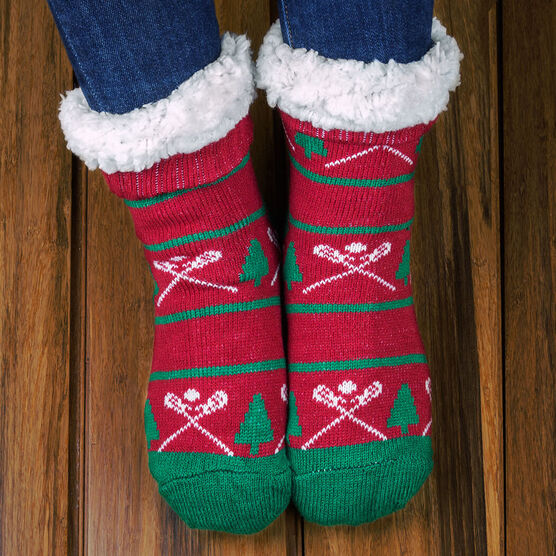 Lacrosse Slipper Socks with Sherpa Lining (Christmas)