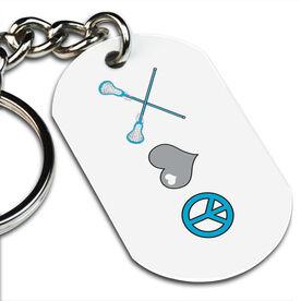 Lacrosse Printed Dog Tag Keychain Peace, Love, Lacrosse