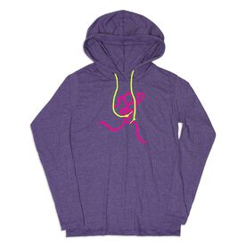 Girls Lacrosse Lightweight Hoodie - Neon Lax Girl