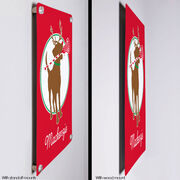 "Girls Lacrosse 18"" X 12"" Aluminum Room Sign - Jingles The Reindeer Lax Dog"