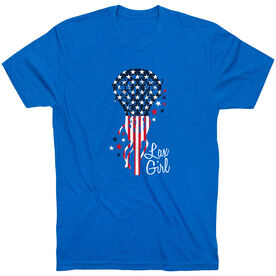 Girls Lacrosse Short Sleeve T-Shirt - Patriotic Lax Girl