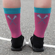Girls Lacrosse Printed Mid-Calf Socks - Forget The Glass Slippers This Princess Wears Cleats