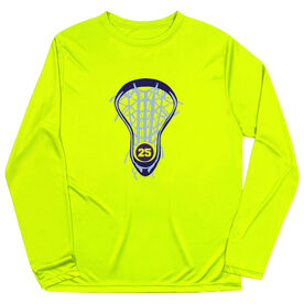 Girls Lacrosse Long Sleeve Performance Tee - Lax is Life with Number