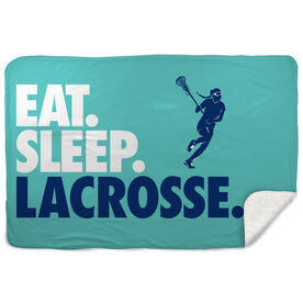 Girls Lacrosse Sherpa Fleece Blanket - Eat. Sleep. Lacrosse. Horizontal