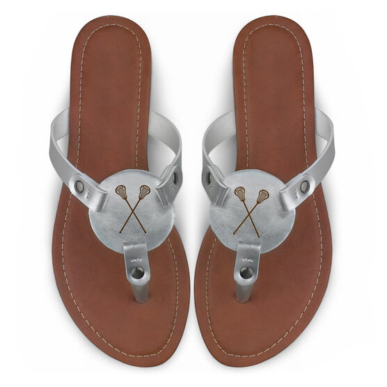 Girls Lacrosse Engraved Thong Sandal Crossed Sticks