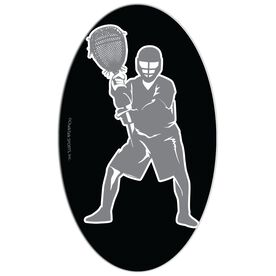 Lacrosse Oval Car Magnet Goalie