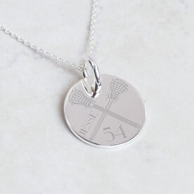 Sterling Silver 20 mm Circle Necklace Lacrosse Number Name