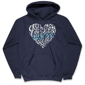Girls Lacrosse Hooded Sweatshirt - All You Need is Lacrosse and Love