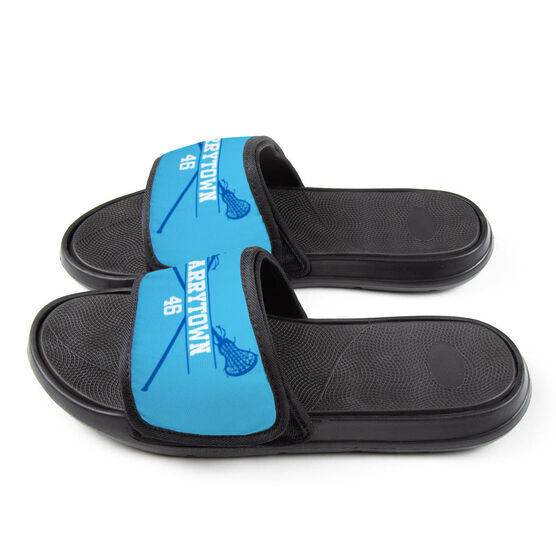 Girls Lacrosse Repwell™ Slide Sandals - Personalized Crossed Sticks