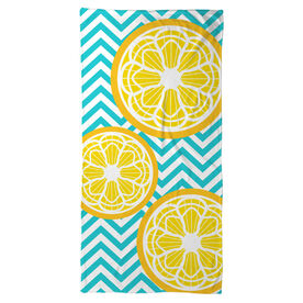 Girls Lacrosse Beach Towel Lax Citrus Chevron