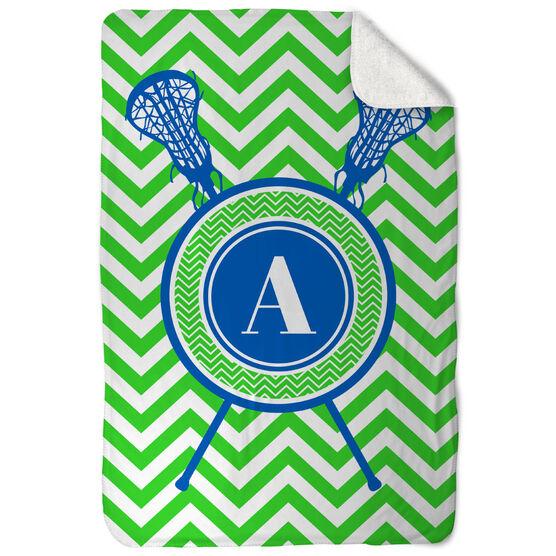 Girls Lacrosse Sherpa Fleece Blanket - Single Letter Monogram with Crossed Sticks and Chevron