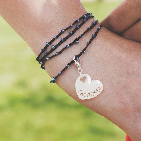 Girls Lacrosse Beaded Wrap Bracelet - Lacrosse Sport Heart