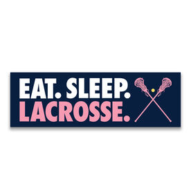 "Girls Lacrosse 12.5"" X 4"" Removable Wall Tile - Eat Sleep Lacrosse"