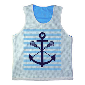 Girls Racerback Pinnie Lacrosse Sticks Anchor With Blue Stripes