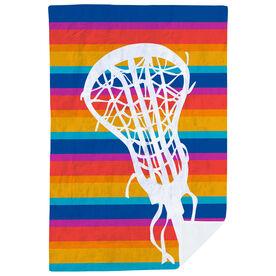 Girls Lacrosse Premium Blanket - Sunset Stripes