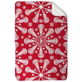 Girls Lacrosse Sherpa Fleece Blanket - Lax Snowflake Monogram