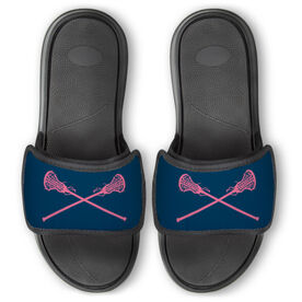Girls Lacrosse Repwell® Slide Sandals - Crossed Sticks [Navy/Pink/Mens 7] - SS