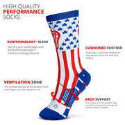 Lacrosse Woven Mid-Calf Socks - American Lax (Red/White/Blue)