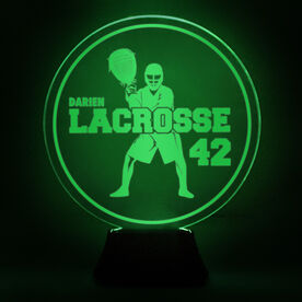Lacrosse Acrylic LED Lamp Round Goalie With Name and Number