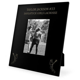 Girls Lacrosse Engraved Picture Frame - Two Girl Players