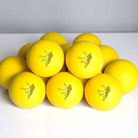 Personalized Engraved Lacrosse Ball Lacrosse Girl Name and Number (Yellow Ball)
