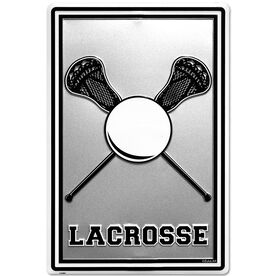 "Lacrosse Stick and Ball Aluminum Room Sign (18"" X 12"")"