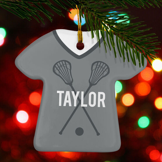 Girls Lacrosse Porcelain Ornament That's My Jersey