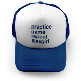 Girls Lacrosse Trucker Hat - Practice Game Repeat