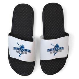 Girls Lacrosse White Slide Sandals - Your Team Name
