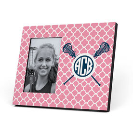 Girls Lacrosse Photo Frame - Monogram Sticks With Quatrefoil Pattern