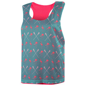 Girls Lacrosse Racerback Pinnie - Flamingo Pattern
